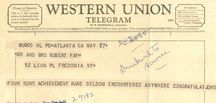 A telegraph from Western Union in 1959