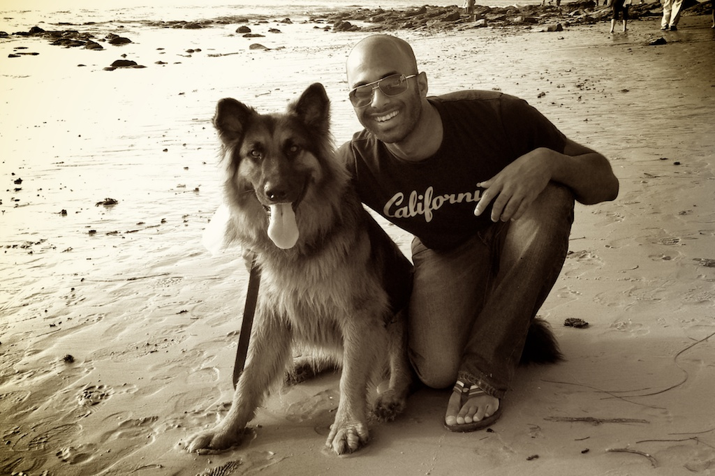 Simba and I relaxing afterwards in Laguna Beach